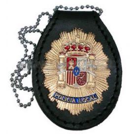 Porta placa policía local, Para colgar en cuello