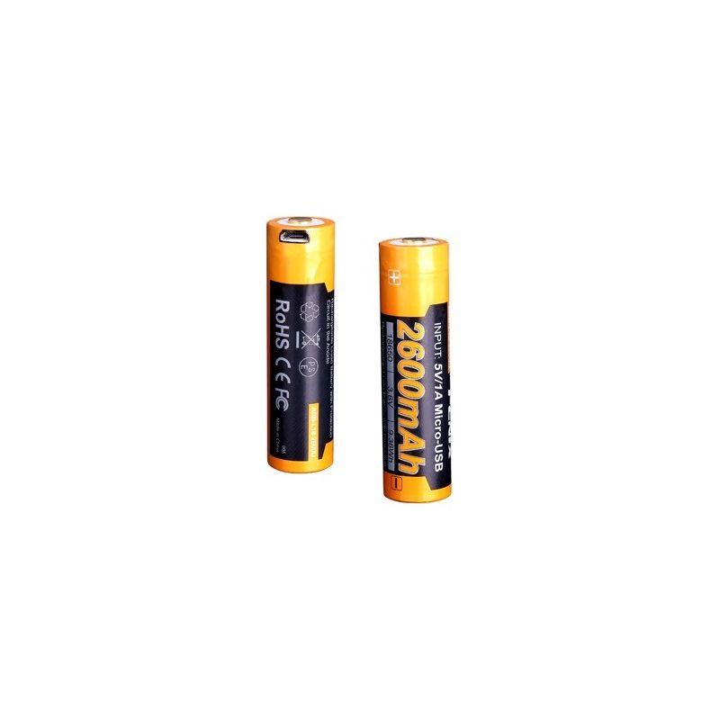 Pila Batería recargable por micro USB 18650 de 2600 mAh