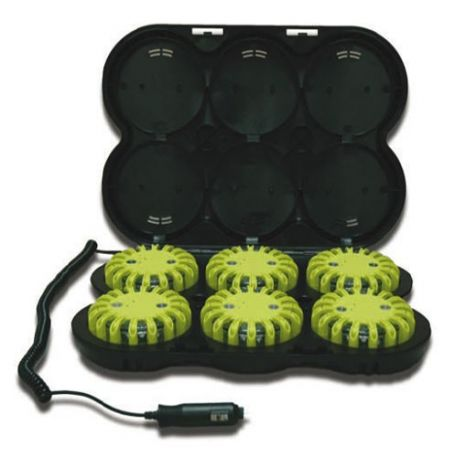 Baliza señalización vial, pack de 6 uds. +maletín cargador 12/22