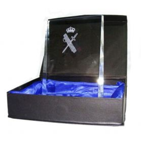 Placa Guardia Civil Dedicatoria de Cristal Grueso Modelo Cuña