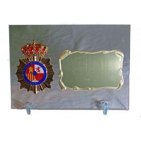 Placa Cuerpo Nacional de Policía de Cristal con Emblema para Dedicatorias Despedidas