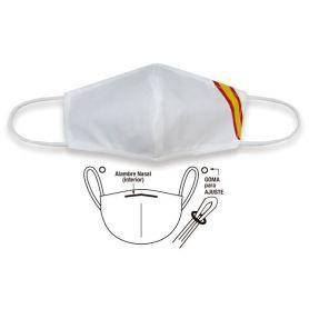 Mascarilla Blanca con Bandera España Accesorio Facial