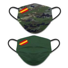 Mascarilla Camuflaje Militar Verde Reversible