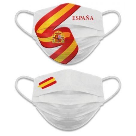Mascarilla Facial España Reversible Blanca