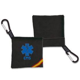 Portamascarilla Emergencias negro con Bandera