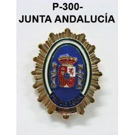 Chapa pecho metal dorada POLICÍA LOCAL JUNTA ANDALUCIA